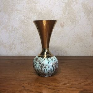 Delft hand painted and brass vase